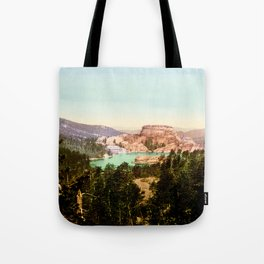 Forest mountains Lake Vintage Scenery Tote Bag