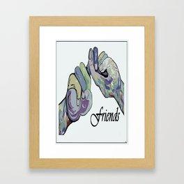 ASL Friends Denim Coloring Framed Art Print