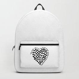 Hearts Heart Teacher Black on White Backpack