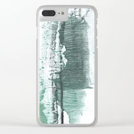 Gray green stained watercolor texture Clear iPhone Case