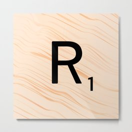 Scrabble Letter R - Large Scrabble Tiles Metal Print