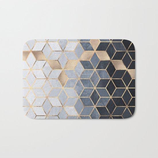 Soft Blue Gradient Cubes Bath Mat