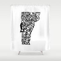 vermont Shower Curtains featuring Typographic Vermont by CAPow!