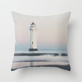 New Brighton Lighthouse at sunrise Throw Pillow