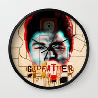 the godfather Wall Clocks featuring Godfather by Marko Köppe