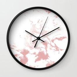 Marble pastel pink 4 Suminagashi watercolor pattern art pisces water wave ocean minimal design Wall Clock