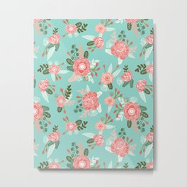 Flowers pastel mint painting watercolor abstract minimal gender neutral florals nursery baby kids Metal Print