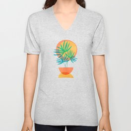 Summer Eclipse / Mid Century Abstract Shapes Unisex V-Neck
