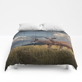 Mule Deer with Velvet Antlers in the Bighorn Mountains Comforters