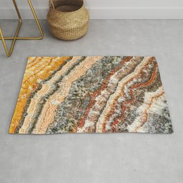 Agate Crystal III // Red Gray Black Yellow Orange Marbled Diamond Luxury Gemstone Rug