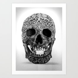 CARVED TIBETAN SKULL. IMAGE IS ENTIRELY MADE OF DOTS. Art Print