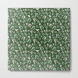 Pretty butterfly pattern - Floral Botanical herbal pattern Metal Print