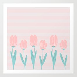 tulips and stripes Art Print