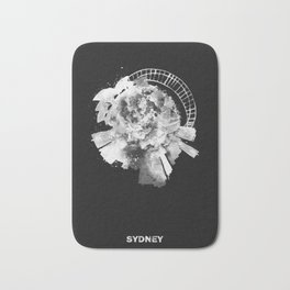 Sydney, Australia Black and White Skyround / Skyline Watercolor Painting (Inverted Version) Bath Mat