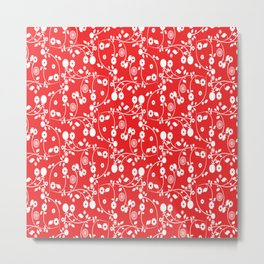 Red Floral Pattern Metal Print