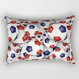 Red white and blue soccer balls Rectangular Pillow