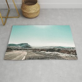 Desert Sunlight Snowfield // Vintage Nature Winter Scenery in Mojave Las Vegas Landscape Photograph Rug