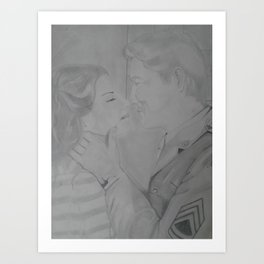 So long my love, Vintage pencil sketch. Art Print