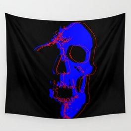 Skull - Blue Wall Tapestry