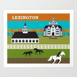 Lexington, Kentucky - Skyline Illustration by Loose Petals Art Print
