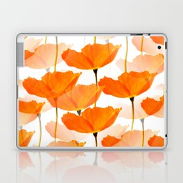 Orange Poppies On A White Background #decor #society6 #buyart Laptop & iPad Skin