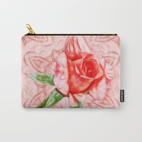 Pink rose on elegant kaleidoscope Carry-All Pouch
