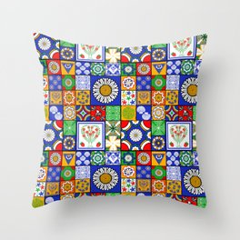 A Spanish tiles pattern Throw Pillow