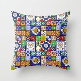 A Spanish tiles pattern Throw Pillow