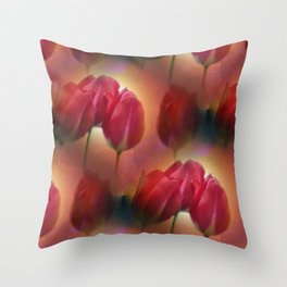watercolored tulip pattern Throw Pillow