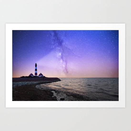 Lighthouse under the stars #photography Art Print