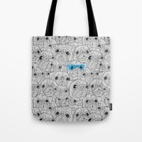 hot dog Tote Bags featuring Hot Dog by jublin