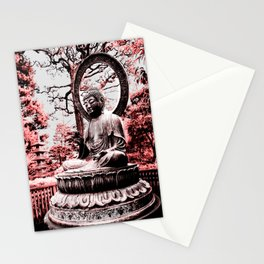 Scarlet Buddha in San Francisco, The Japanese Tea Garden, by Karen Images Stationery Cards