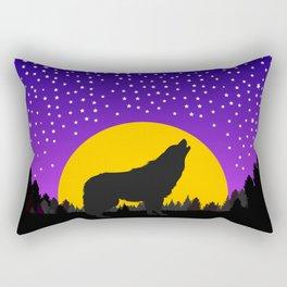 Wolf Moon Stars Rectangular Pillow