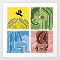 Fab Four Pets Art Print