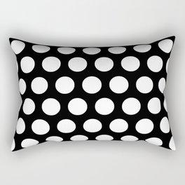 Black with White Polka Dots Rectangular Pillow