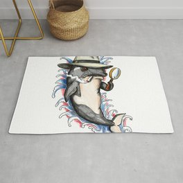 Orca Killer Whale Detective Tattoo Rug