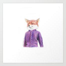 Fox in purpe Art Print