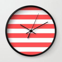 Coral Stripes Wall Clock
