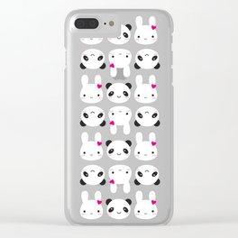 Super Cute Kawaii Bunny and Panda Clear iPhone Case