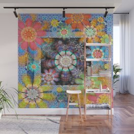 Groovy Funky Boho Framed Floral Wall Mural