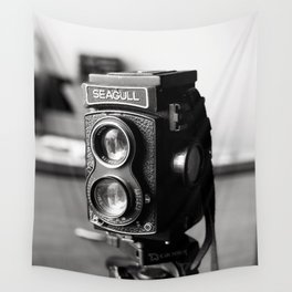Vintage Camera Tri-pod Seagull black and white photograph - photography - photographs wall decor Wall Tapestry