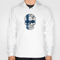 finland Hoodies featuring Sugar Skull with Roses and Flag of Finland by Jeff Bartels