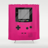 gameboy Shower Curtains featuring Gameboy Color - Berry by katy-makes-things
