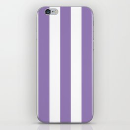 Lavender purple - solid color - white vertical lines pattern iPhone Skin