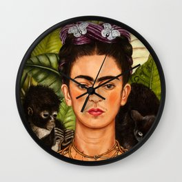 """Frida Kahlo Exhibition Art Poster - """"Self-Portrait with Thorn Necklace and Hummingbird"""" 1988 Wall Clock"""