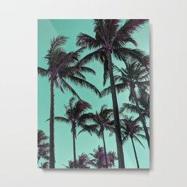 Mint Sky Palm Trees Metal Print