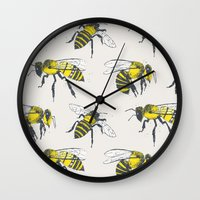 bees Wall Clocks featuring Bees by Tracie Andrews