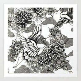 Cranes (B&W) Art Print