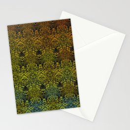 Yellow Orange Blue Abstract Pattern of Dreamcatcher Mandala Pattern on Charcoal Gray Stationery Cards