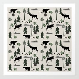 Camping woodland forest nature moose bear pattern nursery gifts Art Print